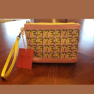 """Mossino Wrislet Pouch Pink And Yellow """"Yes"""""""